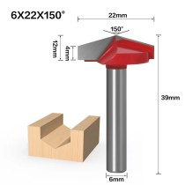 6mm Shank 150 Degree (6*22*150°) V Type Groove Flush Trim Router Bit Chuck Trimming Engraving Milling Cutter