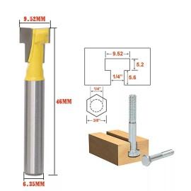 1/4 '' Shank 3/8 '' Blade Key Hole Blades T-Schlitzfräser Holzbearbeitungsfräser