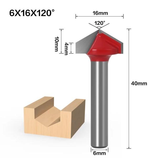 Haste de 6mm 120 Graus (6 * 16 * 120 °) Tipo V Ranhura Flush Trim Router Broca Mandril de aparar Fresa e Gravação
