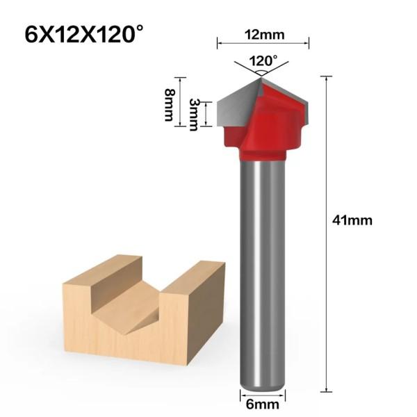Haste de 6mm 120 Graus (6 * 12 * 120 °) Tipo V Ranhura Flush Trim Router Broca Mandril de aparar Fresa e Gravação