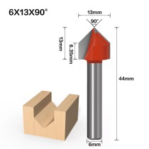 6mm Shank 90 Degree (6*13*90°) V Type Groove Flush Trim Router Bit Chuck Trimming Engraving Milling Cutter