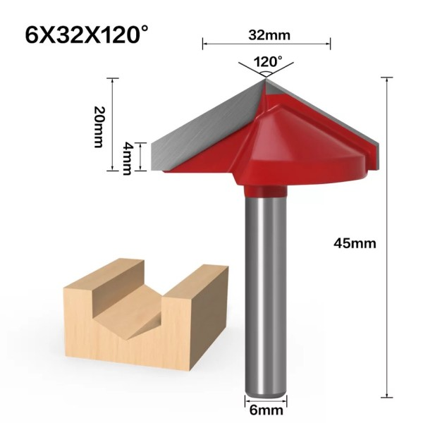 6mm Shank 120 Degree (6*32*120°) V Type Groove Flush Trim Router Bit Chuck Trimming Engraving Milling Cutter