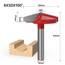 6mm Shank 150 Degree (6*32*150°) V Type Groove Flush Trim Router Bit Chuck Trimming Engraving Milling Cutter