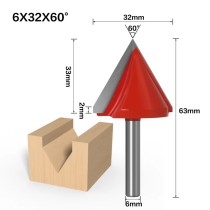 6mm Shank 60 Degree (6*32*60°) V Type Groove Flush Trim Router Bit Chuck Trimming Engraving Milling Cutter