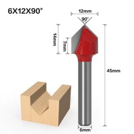 6mm Shank 90 Degree (6*12*90°) V Type Groove Flush Trim Router Bit Chuck Trimming Engraving Milling Cutter