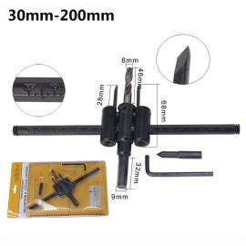 30-200mm verstellbarer Kreislochschneider Holz Trockenbau-Bohrersäge Rundes Schneidmesser