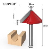 Haste de 6mm 90 Graus (6 * 32 * 90 °) Tipo V Ranhura Flush Trim Router Broca Mandril de aparar Fresa e Gravação