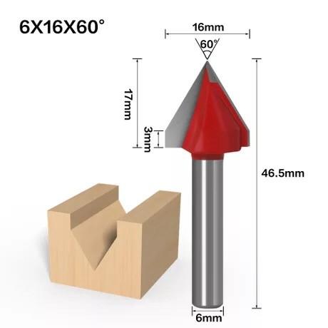 Haste de 6mm 60 Graus (6 * 16 * 60 °) Tipo V Ranhura Flush Trim Router Broca Mandril de aparar Fresa e Gravação