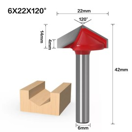 6mm Shank 120 Degree (6*22*120°) V Type Groove Flush Trim Router Bit Chuck Trimming Engraving Milling Cutter