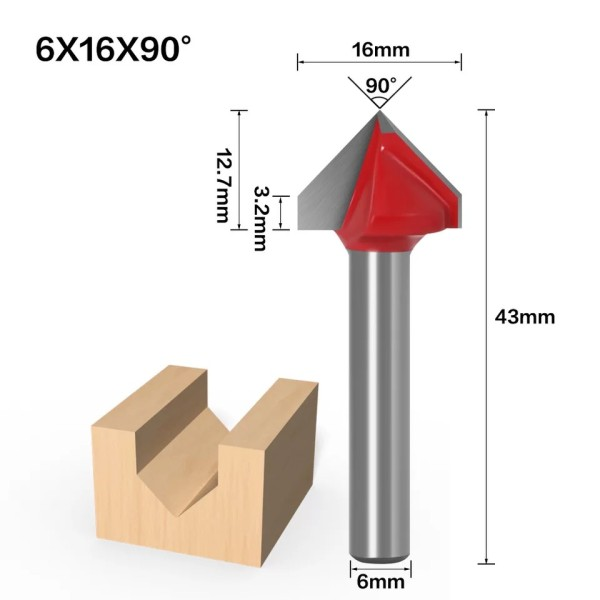 6mm Shank 90 Degree (6*16*90°) V Type Groove Flush Trim Router Bit Chuck Trimming Engraving Milling Cutter