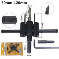 Cortador de orifício circular ajustável de 30-120 mm Broca de madeira para drywall com serra redonda lâmina de corte