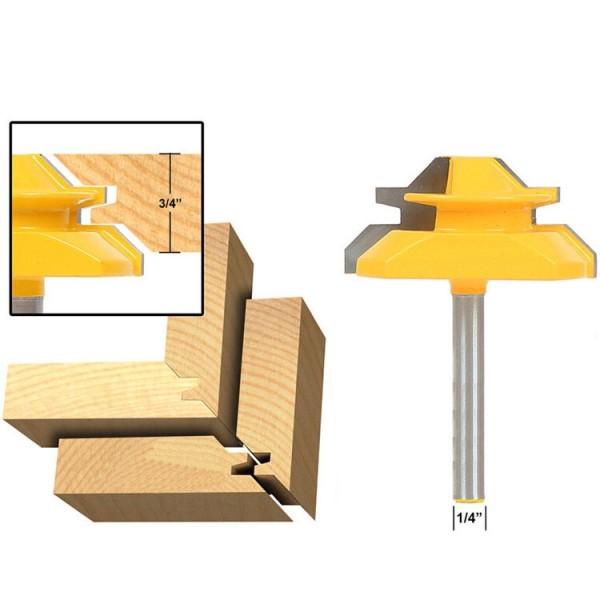 1/4'' Shank (1/4''*2'') 45 Degree Lock Miter Router Bit Tenon Milling Cutter Woodworking Tool
