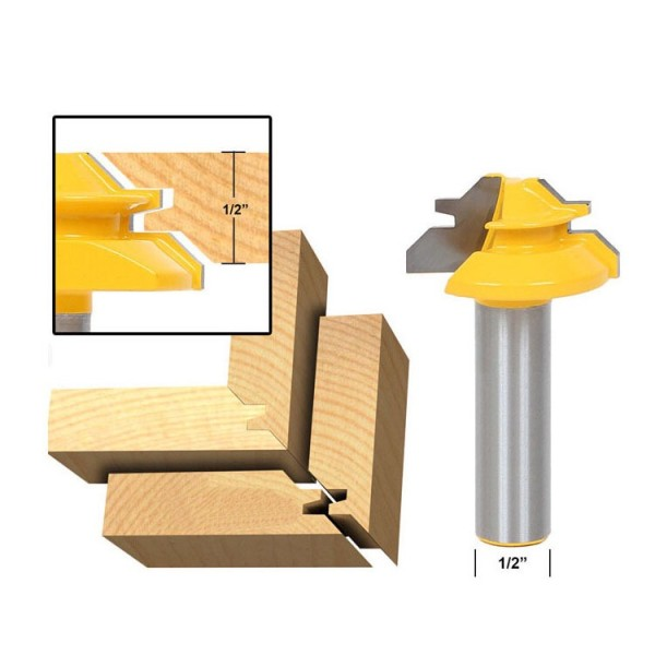 1/2'' Shank (1/2''*1-3/8'') 45 Degree Lock Miter Router Bit Tenon Milling Cutter Woodworking Tool