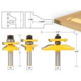 3pcs 1/2'' Shank Tenon Router Bit Cabinet Door Panel Milling Cutter Woodworking Tool