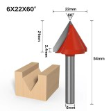 6mm Shank 60 Degree (6*22*60°) V Type Groove Flush Trim Router Bit Chuck Trimming Engraving Milling Cutter