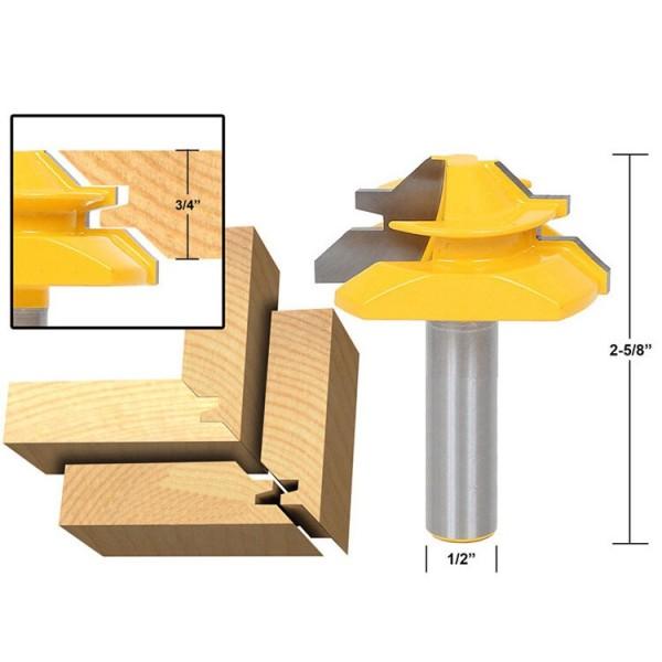 1/2'' Shank (1/2''*2'') 45 Degree Lock Miter Router Bit Tenon Milling Cutter Woodworking Tool