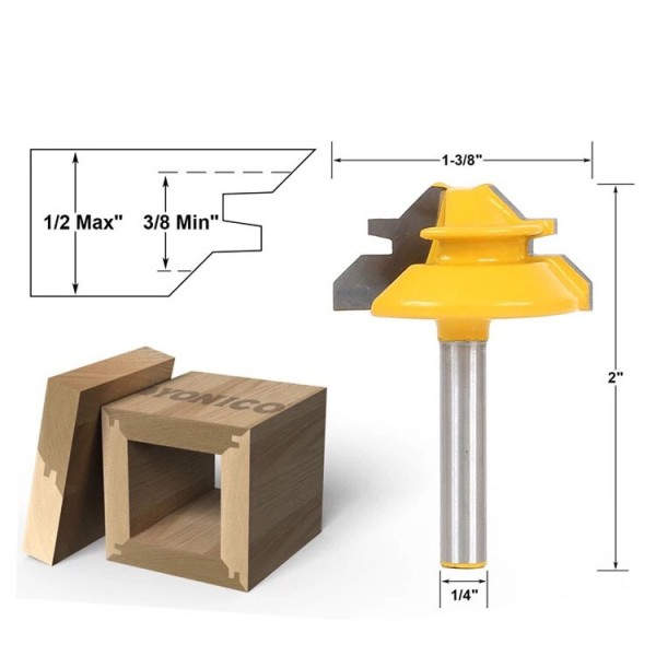 1/4 '' Haste (1/4 '' * 1-3 / 8 '') Trava de 45 graus, esquadria, broca Tenon, ferramenta de corte de madeira