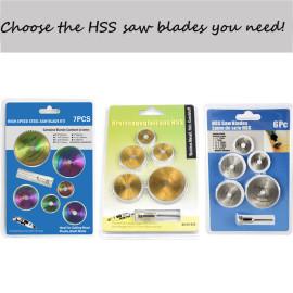 Conjunto de lâminas de serra circular 6pcs / 7pcs HSS Lâmina de serra com mandril de haste de extensão para cortar madeira, plástico, metal macio, ferramentas rotativas