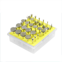 50pcs 3mm Shank Grit Diamond Grinding Head Glass Burr Compatible with Stone Rotary Tools