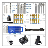 72pcs Mini conjunto de ferramentas de perfuração elétrica Ferramentas rotativas Localizador dedicado Moagem com broca de torção Arquivos rotativos de madeira Ferramentas elétricas Acessórios