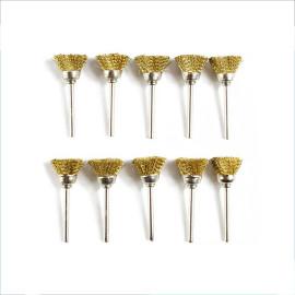 Escova de roda de arame de latão com haste de 10pcs 3 mm para ferramenta rotativa e acessórios ferramenta abrasiva