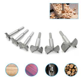Conjunto de brocas Forstner 6pcs 30-60mm Cortadores de orifício de dobradiça Cortador de serra de orifício para carpintaria