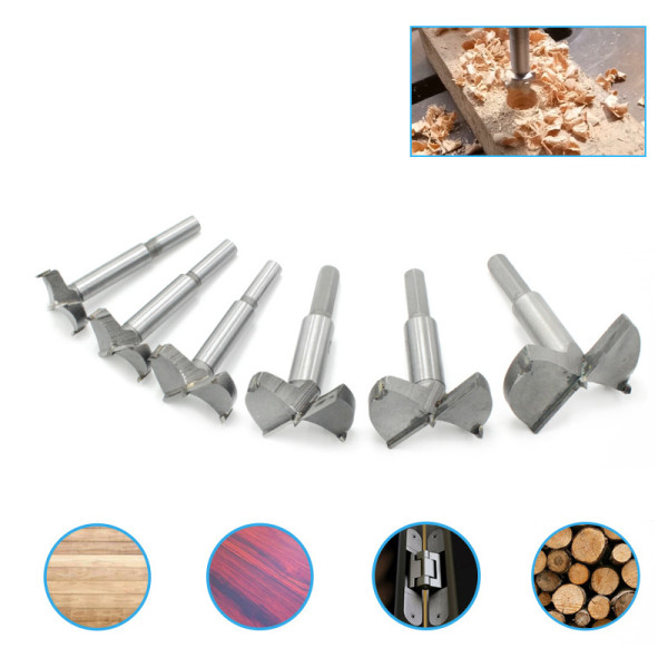 6pcs 30-60mm Forstner Drill Bit Set Hinge Hole Cutters Woodworking Hole Saw Cutter