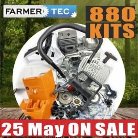 Kit completo de peças de reposição Farmertec compatível com STIHL MS880 088 Motor de motosserra, cárter, cambota, carburador, tanque de combustível, cilindro, pistão, bobina, silenciador
