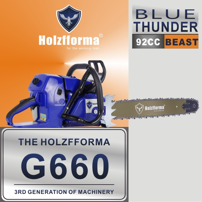 92cc Holzfforma® Blue Thunder G660 Gasoline Chain Saw Power Head Without Guide Bar and Chain Top Quality By Farmertec All parts are For MS660 066 Chainsaw