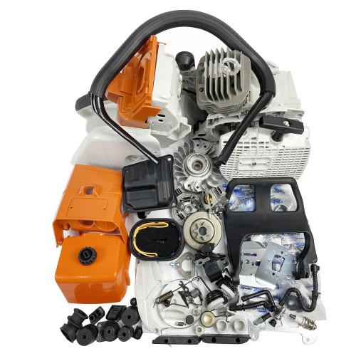 Complete Aftermarket Repair Parts For STIHL MS440 044 Chainsaw Engine Crankcase Gas Fuel Tank Ignition Coil Crankshaft Carburetor Cylinder Piston Recoil Starter Muffler Aftermarket Stihl MS 440 044 Parts