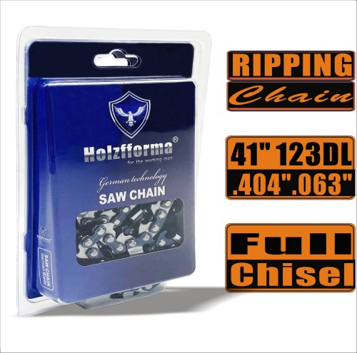 Holzfforma® Ripping Chain Full Chisel .404'' .063'' 41inch 123DL Chainsaw Saw Chain Top Quality German Blades and Links