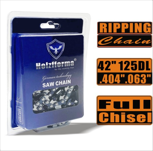 Holzfforma® Ripping Chain Full Chisel .404'' .063'' 42inch 125DL Chainsaw Saw Chain Top Quality German Blades and Links