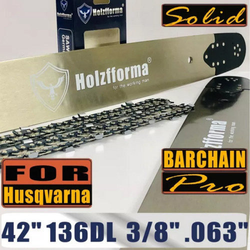US STOCK - Holzfforma® Pro 42 Inch 3/8 .063 136DL Guide Bar & Saw Chain Combo For Husqvarna 61 66 266 268 272 281 288 365 372 385 390 394 395 480 562 570 575 More Chainsaw 2-4 Days Delivery Time Fast Shipping For US Customers Only