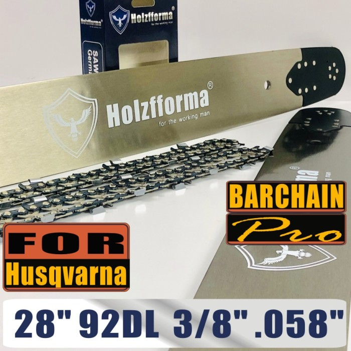 US STOCK - Holzfforma® Pro 28 Inch 3/8 .058 92DL Bar & Full Chisel Chain Combo For Husqvarna 61 66 262 xp 266 268 272 xp 281 288 362 365 372 xp 385 390 394 395 480 562 570 575 2-4 Days Delivery Time Fast Shipping For US Customers Only