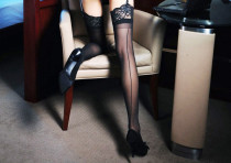 Black Seamed Cuba Heel Thigh Highs 2053
