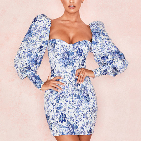Floral Puff Sleeve Bodycon Dress 8946J