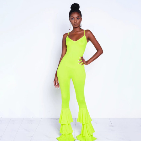 Ruffle Bottom Backless Jumpsuit 1734891