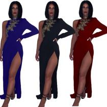 Sexy Thigh Split Embroidery Maxi Dress 4096