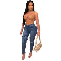 Fake Pockets Skinny Jeans Blue 2058