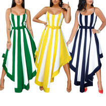 Colorful Striped Long Dresses For Women 080