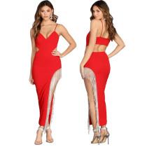 Rhinestone Fringe Club Maxi Dress 3356
