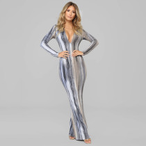V Neck Long Sleeve Bodycon Maxi Dress D9B1583A