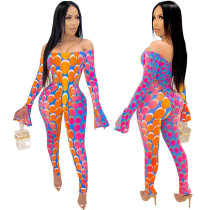 Off Shoulder Two Piece Bodysuit Matching Pants Set 8194