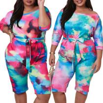 Tie Dye Plus Size Romper 5010
