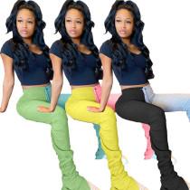Bottom Zipper Color Block Sweatpants 1163