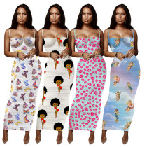 Butterfly/Lip/Angel/Betty Print Bodycon Maxi Dress 9512A