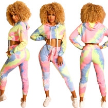 Tie Dye Crop Sweat Suit 8534