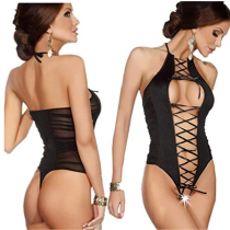 Sexy Halter Lace Up Teddy Lingerie TYQ881