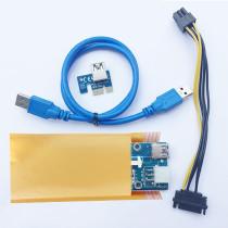 VER 009S PCIE PCI Riser Card VER009s Express Sata 15Pin to 6 Pin 1X 4X 8X 16X USB 3.0 Extender Adapter Mining Miner