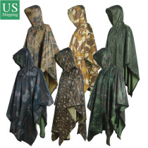 PVC Multifunction Camo Rain Poncho For Outdoor Camping, Hunting, Military